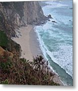 Cliffs And Surf On The California Coast Metal Print