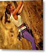 Climber Heidi Badaracco Leads A Route Metal Print