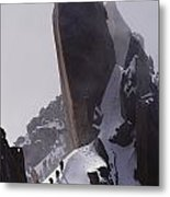 Climbers Move Carefully Across Steep Metal Print