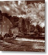 Clinton Red Mill House Sepia Metal Print