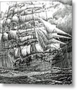 Clipper In The Storm Filtered Metal Print