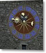 Clocktower In Lucerne On A Stone Tower Metal Print