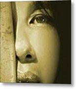 Close-up Of A Beautiful Asian Woman Metal Print by Sandra Cunningham