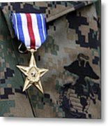 Close-up Of A Medal On The Uniform Metal Print
