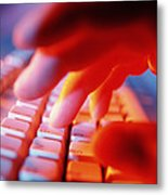 Close-up Of A Person Typing On A Computer Keyboard Metal Print