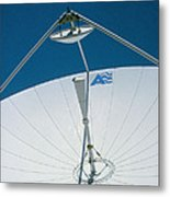 Close Up Of A Satellite Receiver Dish Metal Print by David Parker