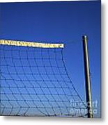 Close-up Of A Volleyball Net Abandoned. Metal Print by Bernard Jaubert