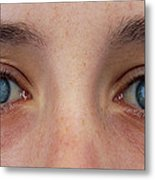 Close-up Of A Woman's Blue Eyes Metal Print