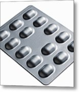 Close Up Of Blister Pack Of Pills Metal Print