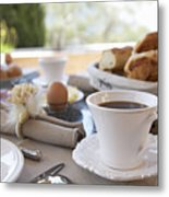 Close Up Of Coffee At Breakfast Table Metal Print