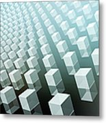 Close-up Of Cubes On Black And Blue Metal Print by Ralf Hiemisch