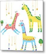 Close-up Of Giraffes Metal Print
