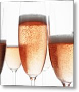 Close Up Of Glasses Of Champagne Metal Print
