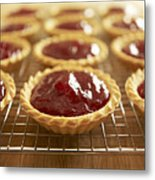 Close Up Of Jam Tarts Cooling On Wire Rack Metal Print