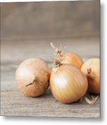 Close Up Of Onions On Table Metal Print