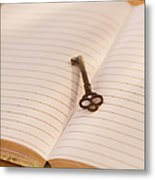 Close Up Of Open Notebook With Key, Studio Shot Metal Print