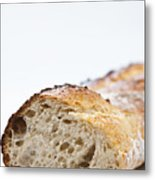Close Up Of Sliced Loaf Of Bread Metal Print