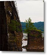 Close Up Of The Bridge Over The River Metal Print