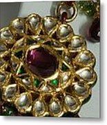 Close Up Of The Gold And Diamond Setting Of A Large Necklace Metal Print by Ashish Agarwal