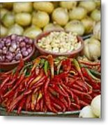 Close View Of Chili Peppers And Other Metal Print