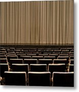 Closed Curtain In An Empty Theater Metal Print