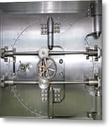 Closed Door To A Bank Vault Metal Print by Adam Crowley