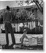 Cloth Diapers On The Line Metal Print