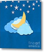 Cloud Moon And Stars Design Metal Print
