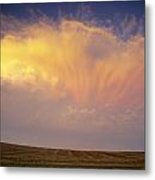 Clouds Over Canola Harvest, Saint Metal Print