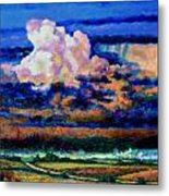 Clouds Over Country Road Metal Print
