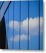 Clouds Reflected In A Glass Facade Metal Print