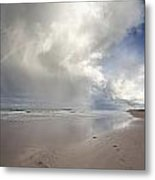 Clouds Reflected In The Shallow Water Metal Print