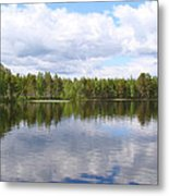 Clouds Trees And Water Metal Print