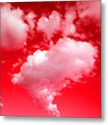 Clouds With Red Sky Metal Print