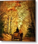 Coach On A Road In Autumn Metal Print