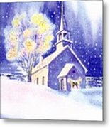 Coastal Church Christmas Metal Print