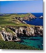 Coastal Cliffs And Seascape With Boat Metal Print