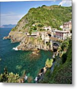 Coastal Railway Tunnel In Italian Village Metal Print by Wx Photography