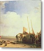 Coastal Scene In Picardy Metal Print by Richard Parkes Bonington