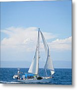 Coastline Sailing Metal Print