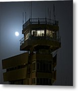 Cob Speicher Control Tower Under A Full Metal Print by Terry Moore