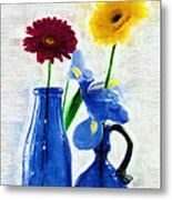 Cobalt Blue Glass Bottles And Gerbera Daisies Metal Print