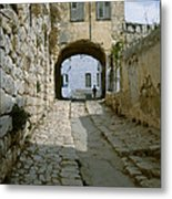 Cobbled Street In Safed Metal Print