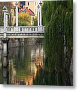 Cobblers Bridge And Morning Reflections In Ljubljana Metal Print by Greg Matchick