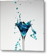 Cocktail Splashing Around Martini Glass Metal Print