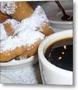 Coffee And Beignets French Quarter New Orleans Metal Print
