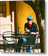 Coffee At The Outdoor Cafe Metal Print
