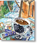 Coffee Break In Elos In Crete Metal Print