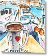 Coffee Break In Heraklion In Crete Metal Print