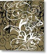 Coffee Flowers 1 Olive Metal Print